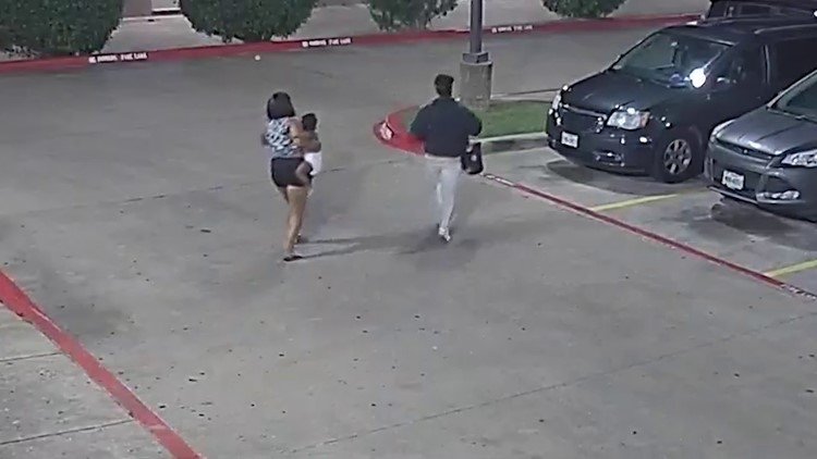 Video shows kidnapping of 20-month-old baby at Garland motel; mother being credited for ripping off suspect vehicle plates