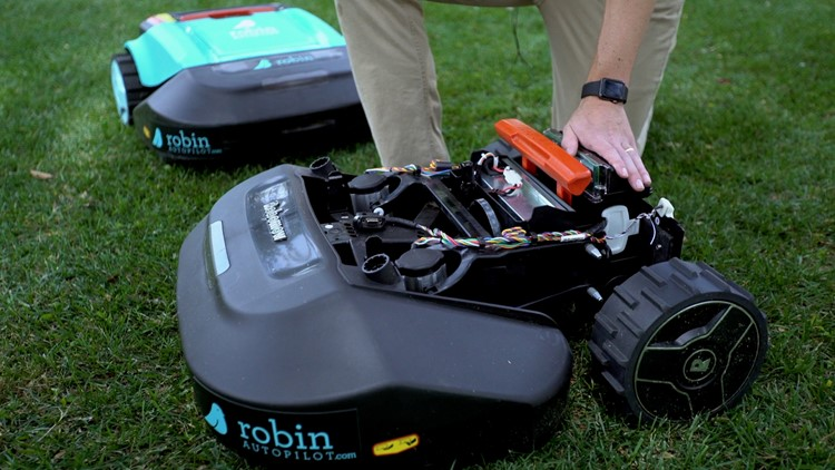A Robin Autopilot mower in action