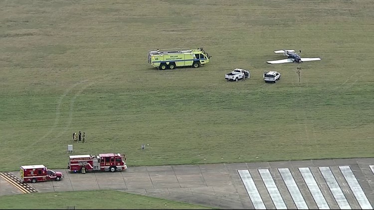 No injuries reported after private plane flips at Dallas Executive Airport, officials say
