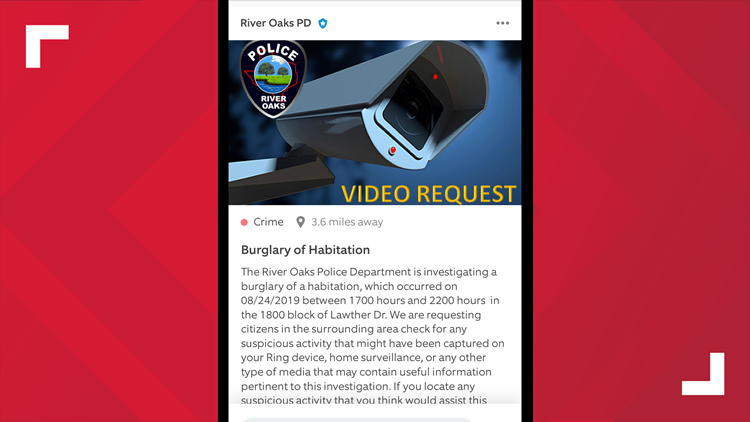 Ring Video Request alert posted by River Oaks Police