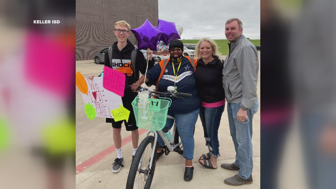 Keller ISD bus driver with serving heart surprised with brand new bike from student