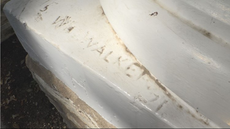 "Dasch discovered this carving that reads ""Walker"" on a pillar outside the Neil-Cochran House Museum. After some research, she also found out the artist of the bluebonnet painting, Walker, actually lived in her house museum for a period of her life."
