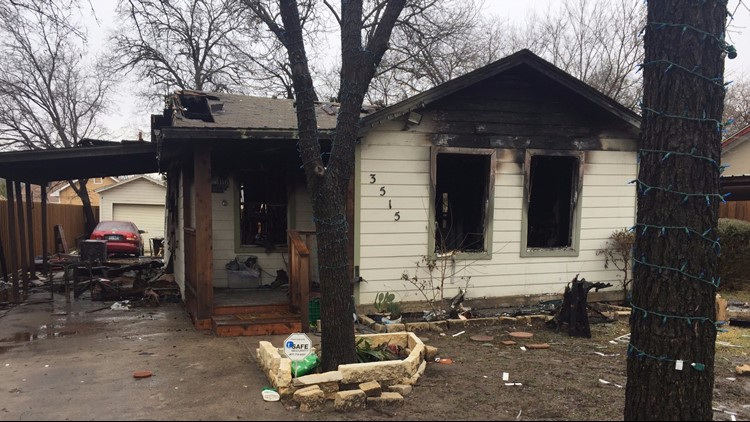 One of two home previously damaged in a fire the same week an explosion killed an 11-year-old girl in the same northwest Dallas neighborhood.