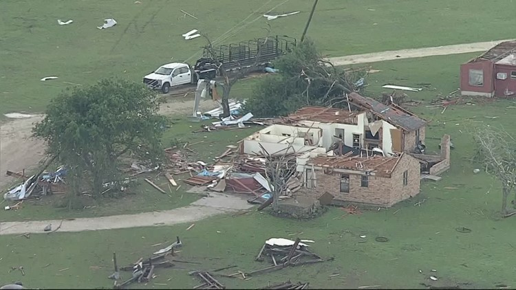 Aerial footage of building damage near Blum after reports of 2 tornadoes Monday night