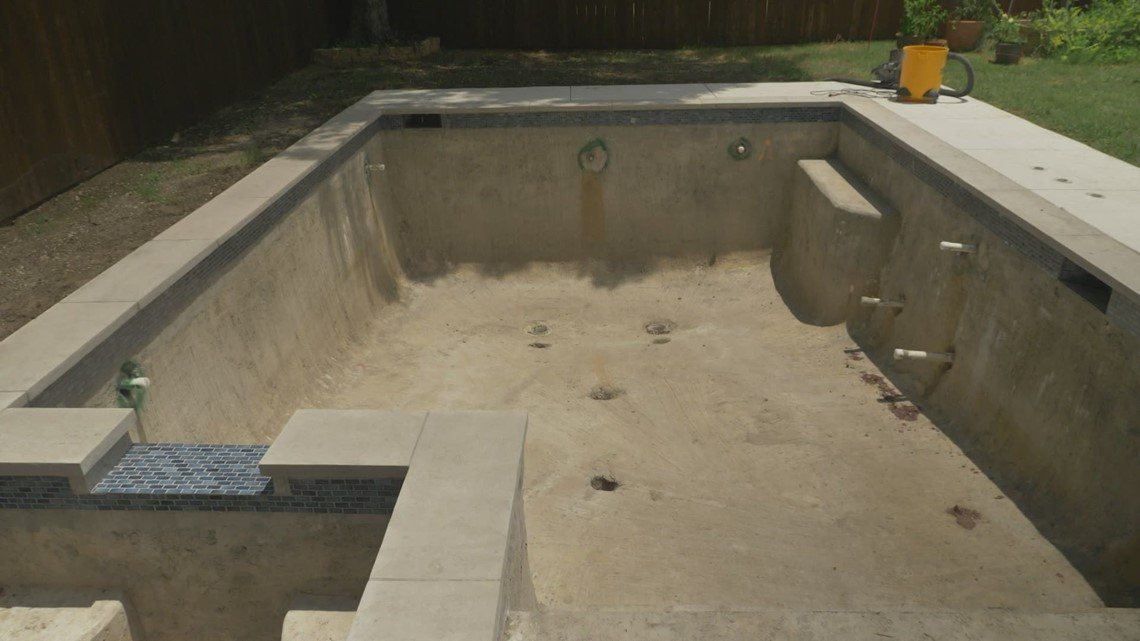 Dallas woman says construction company left pool unfinished despite approved permit