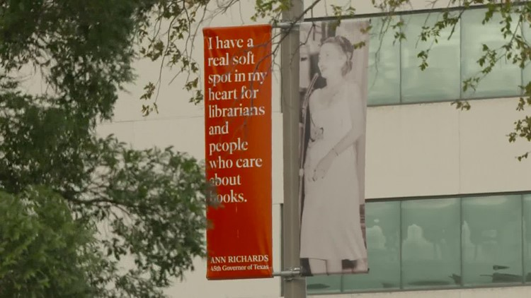 Banners featuring one-liners from former Gov. Ann Richards aim to educate young Texas women
