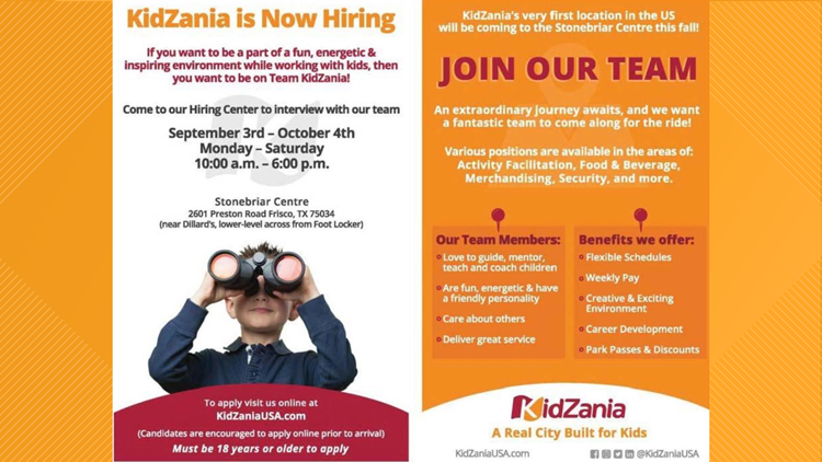 KidZania looks to hire 500 people for its new Frisco