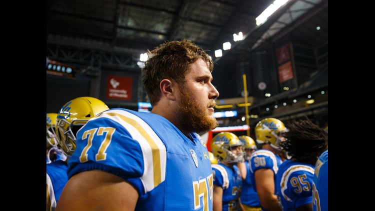 UCLA Bruins offensive lineman Kolton Miller (77) against the Kansas State Wildcats in the 2017 Cactus Bowl at Chase Field.