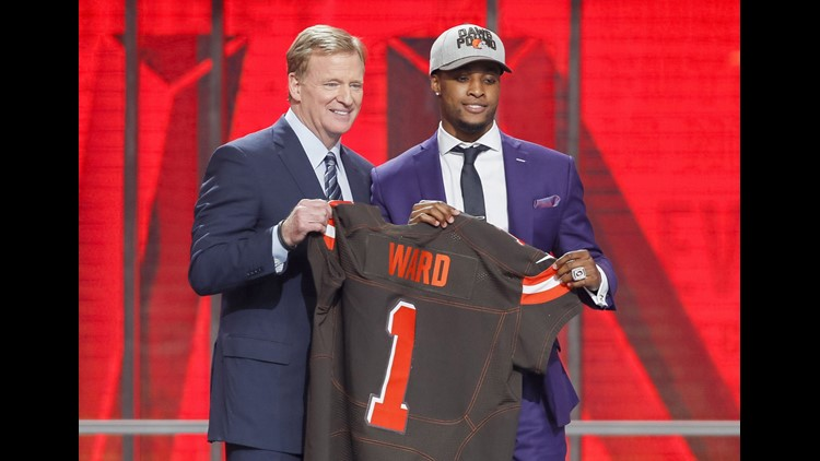 Denzel Ward (Ohio State) is selected as the number four overall pick to the Cleveland Browns in the first round of the 2018 NFL Draft at AT&T Stadium. Mandatory Credit: Tim Heitman-USA TODAY Sports