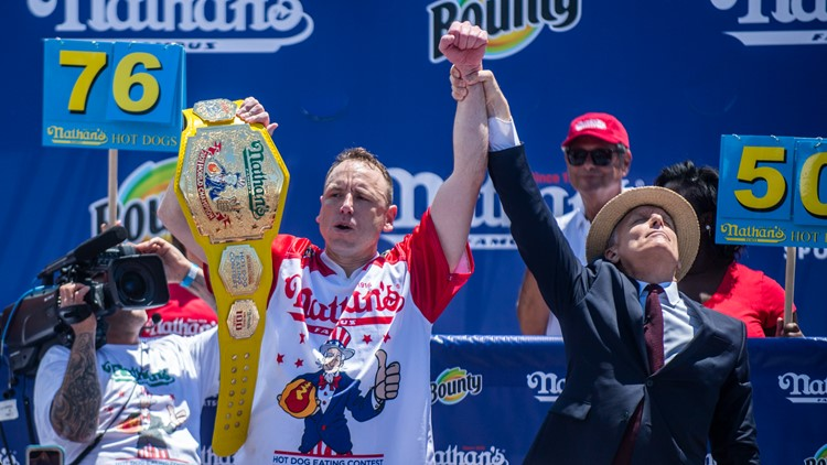 Joey Chestnut wins Nathan's hot dog contest on Coney Island