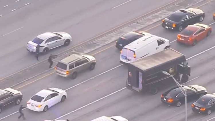 Police chase with hijacked UPS truck leads to shootout in South Florida