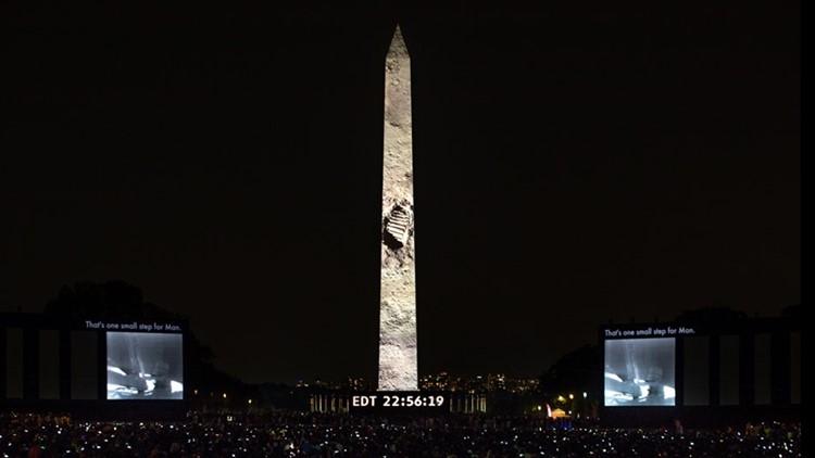 WATCH: Amazing full video of Apollo 11 moon landing projected on Washington Monument