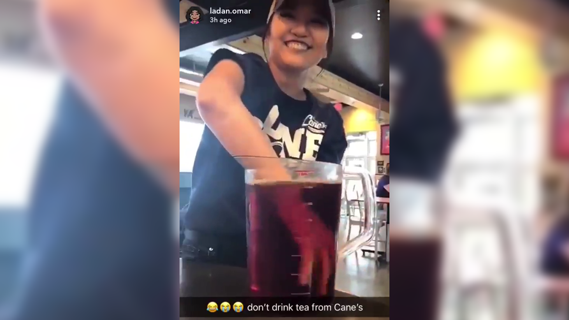 Raising Cane's employee fired after video shows her stirring tea with hand
