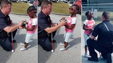 Firefighter goes out of his way to help make little girl's day